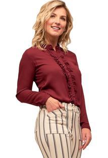 Camisa Crepe Mx Fashion Frufru Helen Vinho