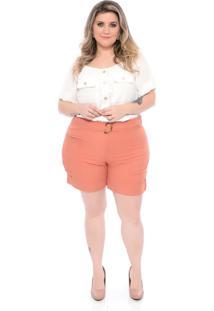Roupas Plus Size Domenica Solazzo Shorts Laranja - Kanui