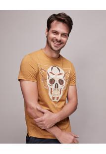 Camiseta Masculina Slim Fit Com Estampa De Caveira Manga Curta Gola Careca Mostarda
