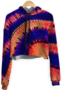 Blusa Cropped Moletom Feminina Transfusion Tie Dye Md16 - Laranja/Roxo - Feminino - Poliã©Ster - Dafiti