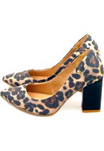 Scarpin Love Shoes Salto Grosso Alto Bico Fino Linho Onça
