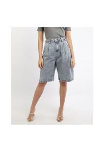 Bermuda Jeans Feminina Mindset Marmorizada Slouchy Cintura Alta Com Bolsos Azul Médio