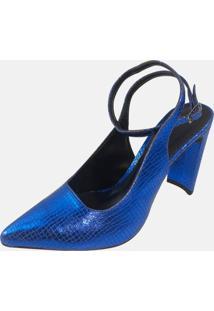 Scarpin Liso Vendrata Casual Modern Azul Metalizado