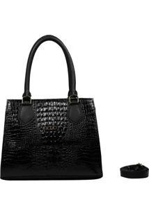 Bolsa Em Couro Recuo Fashion Bag Croco Preto