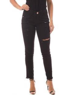 bde31b7c8 Calça Jeans Denúncia Mid Rise Skinny Feminina - Feminino-Preto