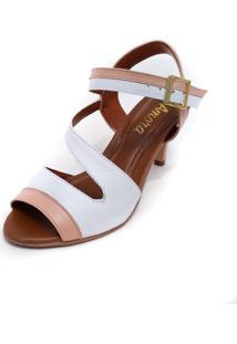 Sandália Amora Calçados De Salto Em Couro Ive Branco Com Rosa - Kanui