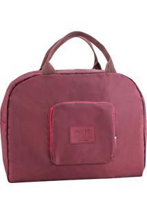 Bolsa Dobrável- Bordô & Marrom- 35X41X16Cm- Jackjacki Design