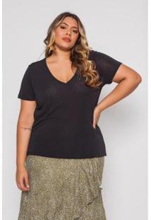 Blusa Almaria Plus Size Pianeta Básica Feminina - Feminino-Preto