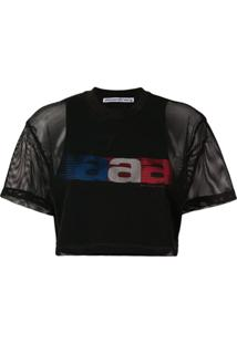 Alexander Wang Blusa Cropped 'Aaa' Com Rede - Preto