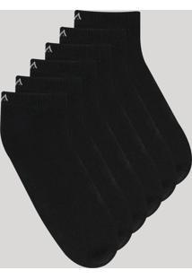 Kit De 6 Meias Soquete Masculinas Esportivas Ace Preta