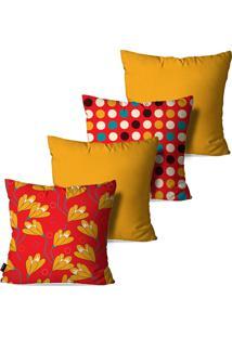 Kit Com 4 Capas Para Almofadas Pump Up Decorativas Amarelo Ocre Flores Poá 45X45Cm