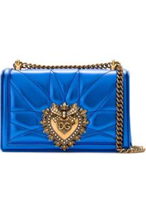 Dolce & Gabbana Bolsa De Couro Em Matelassê - Azul