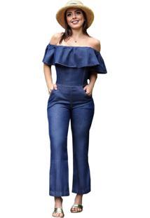 Macacão Jeans Longo Ciganinha - Ewf Jeans - Azul Escuro