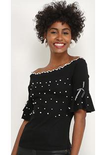 Blusa Lily Fashion Com Perolas Feminina - Feminino-Preto