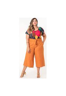 Calça Pantacourt Lisa Linho Plus Size Mostarda