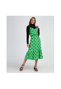 Vestido Feminino Midi Estampado De Poá Com Babados Alça Fina Verde