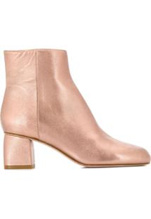 Red Valentino Ankle Boot Com Zíper Lateral - Rosa