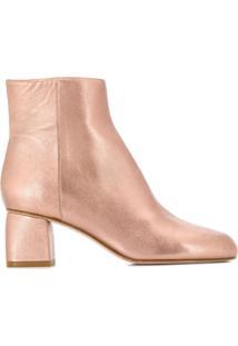 Redvalentino Ankle Boot Com Zíper Lateral - Rosa