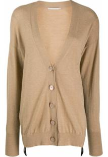 Stella Mccartney Cardigan Com Logo - Neutro