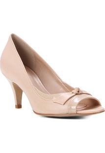 Peep Toe Couro Shoestock Salto Médio Laço - Feminino-Nude