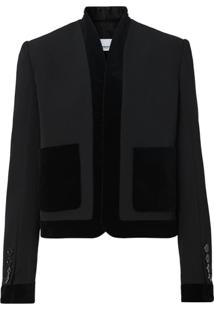 Burberry Velvet Detail Wool Tailored Jacket - Preto