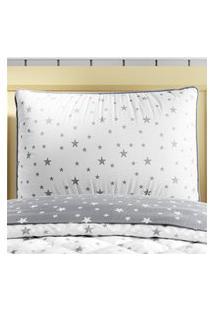 Capa Travesseiro Infantil Cinza Estrelas Gráo De Gente Cinza