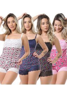 Kit Baby Doll Isa Lingerie Liganete Renda 4 Peã§As Estampada - Estampado - Feminino - Dafiti