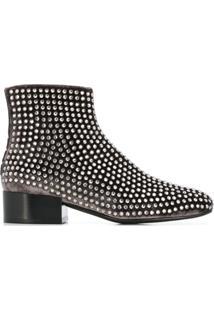 Alberto Gozzi Ankle Boot Com Tachas - Cinza
