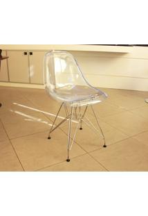 Cadeira Eames Dsr (Cores Transparentes) Cromado Com Policarbonato Transparente