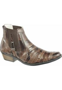 Bota Country Difranca Lisa - Masculino-Marrom