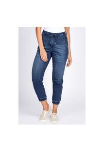 Calça Jeans Tipo Moletom Bloom Jogger Azul Escuro