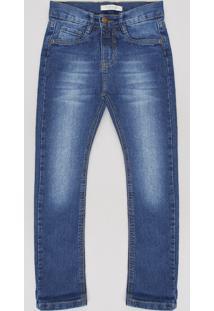 Calça Jeans Infantil Reta Com Bolsos Azul Médio