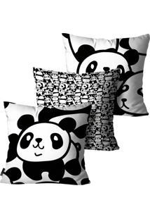 Kit Com 3 Capas Para Almofadas Mdecore Infantil Panda Preto E Branco 35X35Cm