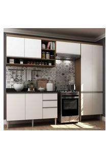 Cozinha Completa Com 4 Peças Suíça Multimóveis Nogueira/Branco