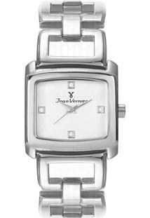 Relógio Analógico Jv01253- Prateado & Branco- Jean Vjean Vernier