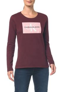 Blusa Ckj Fem Ml Logo - Bordo - G