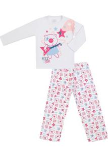 Pijama Longo Feminino Moletom Rock Star - Feminino-Branco