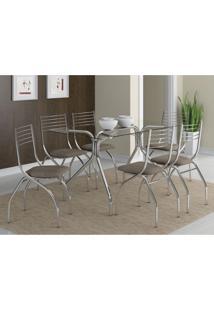 Conjunto De Mesa Lausanne Com 6 Cadeiras Lugano Conhaque