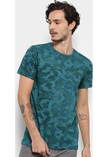 Camiseta Bulldog Fish Camuflada Masculina - Masculino-Verde