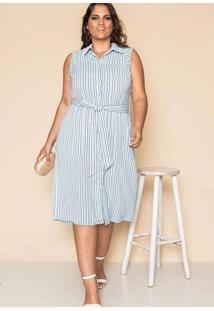Vestido Almaria Plus Size Pianeta Crepe Listrado R