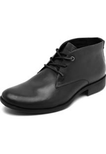 Sapato Couro Ellus Recortes Preto