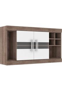 Armário 2 Portas Com Vidro Adega E Nichos 120Cm Cozinha Nápole Movelbento Rústico/Branco