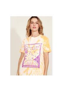 Blusa Feminina Signo Touro Estampada Tie Dye Manga Curta Decote Redondo Mostarda