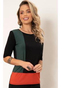 Blusa Com Recortes Preta Verde Telha