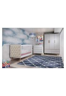 Dormitório Lorena Guarda Roupa 3 Portas Comoda 4 Gavetas Berço Lorena C/ Capitone Carolina Baby Branco