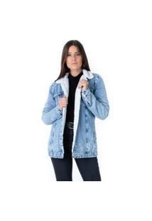 Jaqueta Pkd Jeans Com Forro De Pelo Alongada