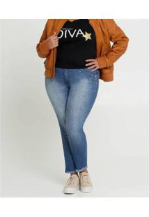 Calça Jeans Biotipo Plus Size Skinny Strass Feminina - Feminino-Azul