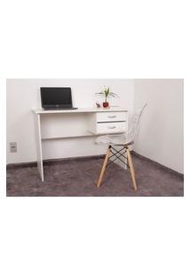 Kit Escrivaninha Com Gaveteiro Branca + 01 Cadeira Charles Eames - Transparente