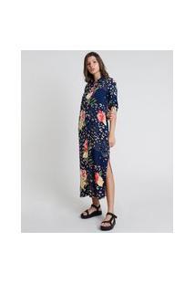 Vestido Chemise Midi Estampado Animal Print Onça Com Flores Manga Curta Azul Marinho