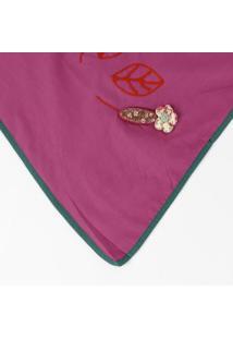 Echarpe Com Patch & Bordado - Verde & Rosa- 47X132Cmkwi